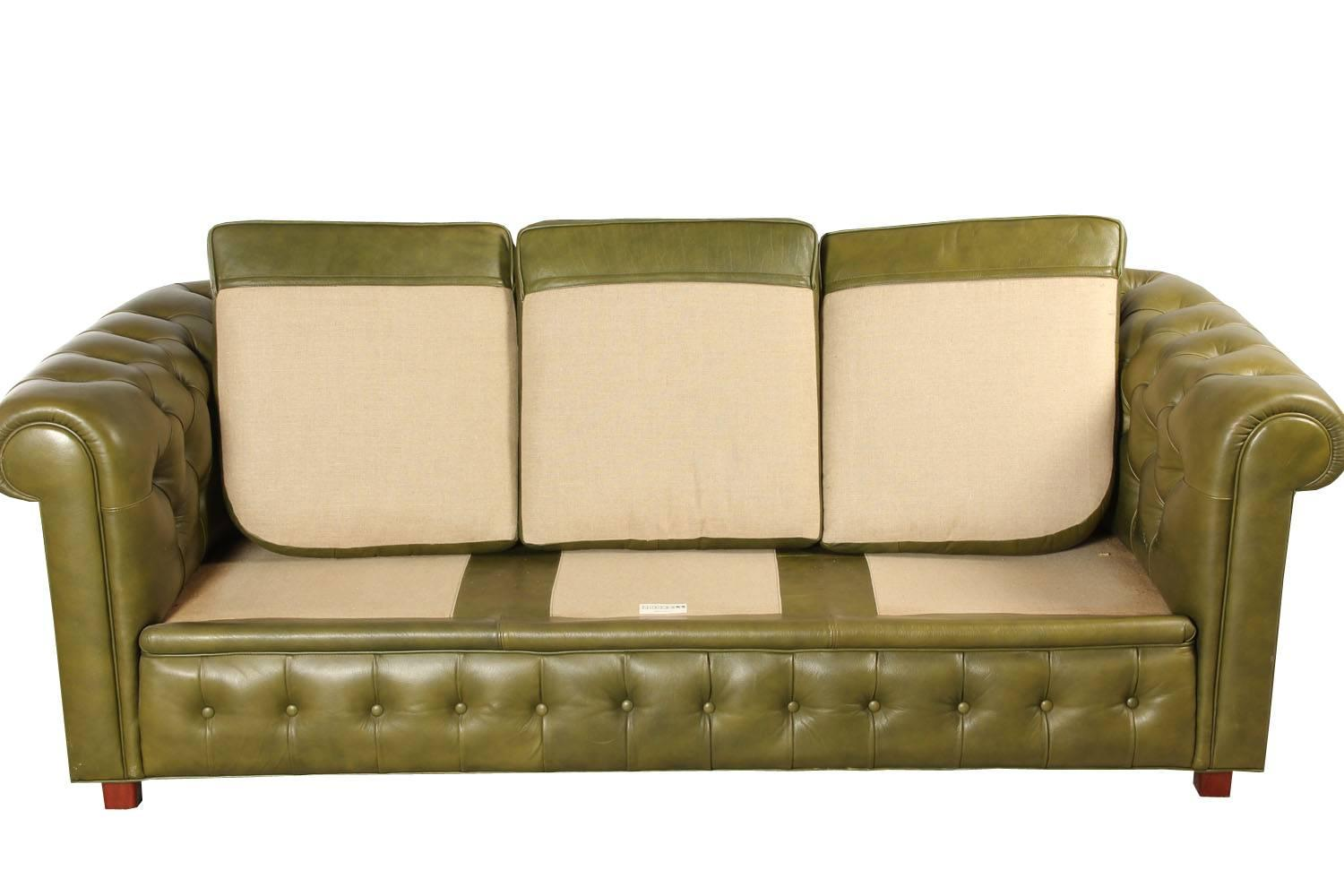 Leather Chesterfield Style Sofa And Armchair By Arne