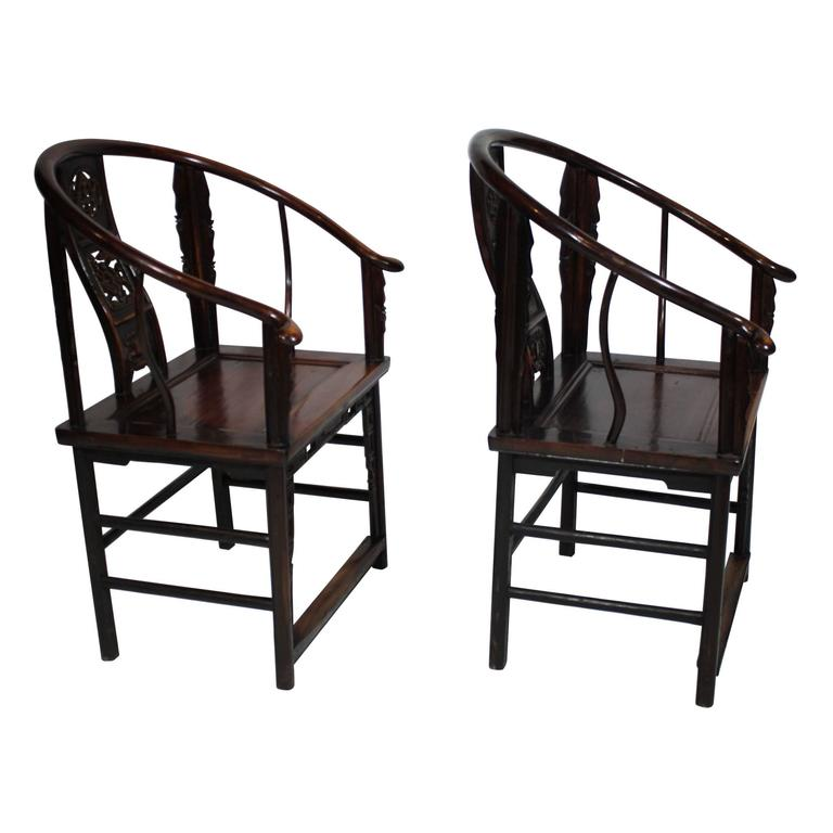 These Intricately Carved Horseshoe Armchairs Feature Two Carvings Of The  U0026quot;Arhats,u0026quot;