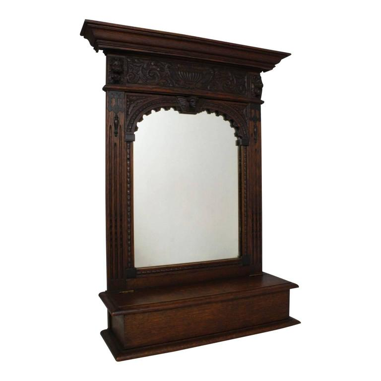 Renaissance style dutch dressing or hallway mirror with for Hallway mirror and shelf