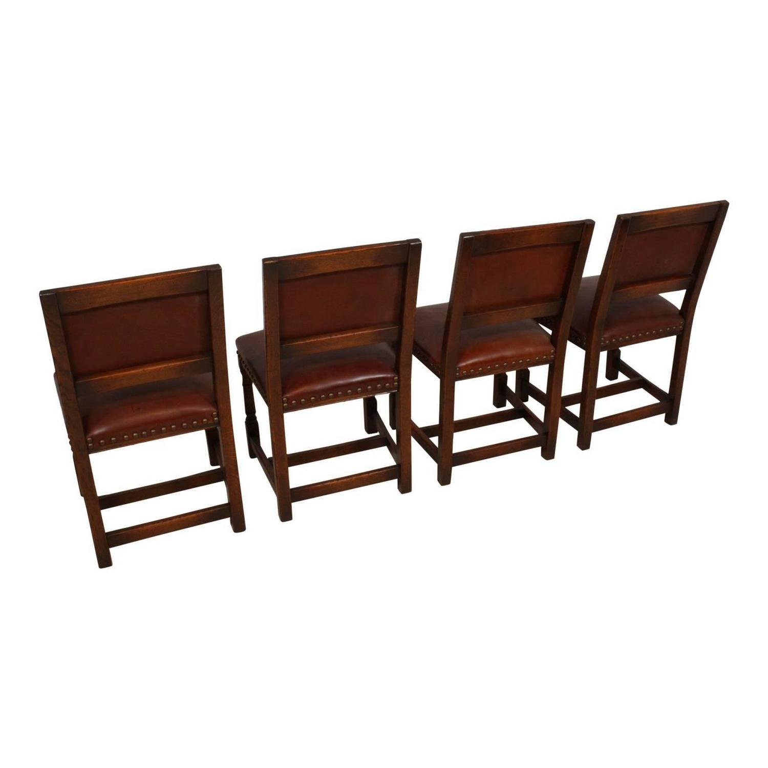 Mid 20th Century Oak Dining Room Table With Eight Leather Chairs For Sale At 1stdibs