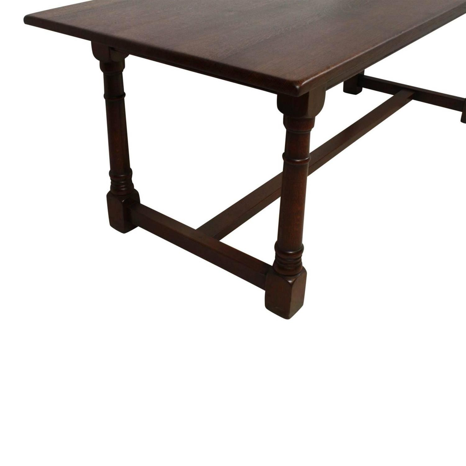 41878 large oak dining room table w 8 chairs 8