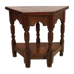 Belgian Oak Convertible Hexagonal Gate-Leg Hallway/Side Table
