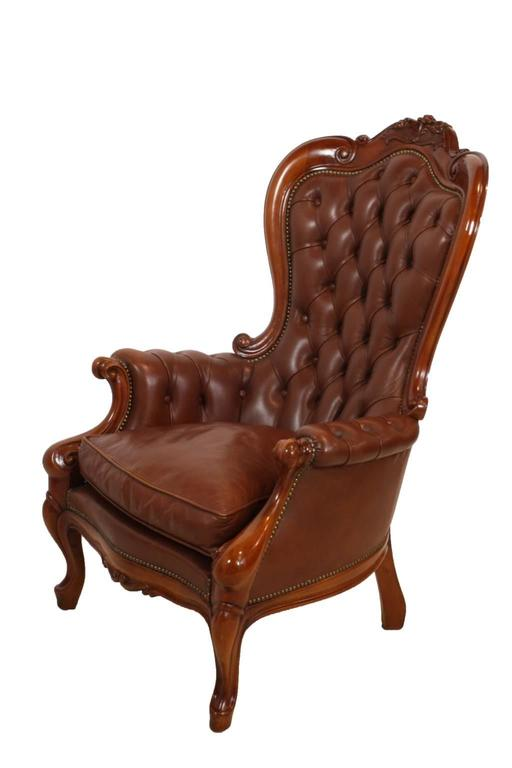 A Pair Of Beautiful Mahogany Chairs With Brown Tufted Leather And Brass  Pinning In A Classic. European Set Of Two Victorian Style ...