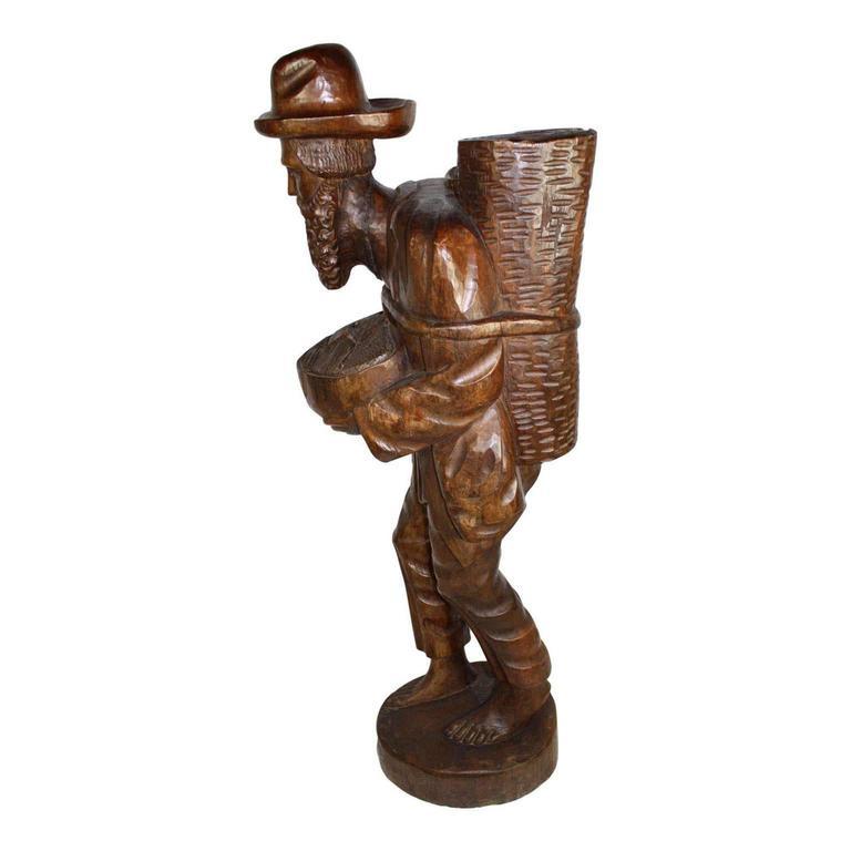 Carved Tall Teak Wood Asian Folk Art Sculpture of Elderly Man For Sale