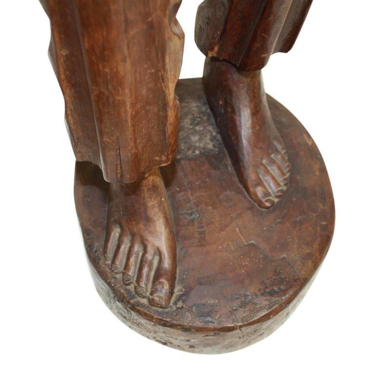 Tall Teak Wood Asian Folk Art Sculpture of Elderly Man For Sale 1