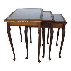 English Nesting Tables with Gilt Leather Tops, circa 1930