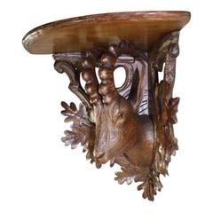 Early 20th Century Black Forest Linden Wood Ibex Corner Shelf