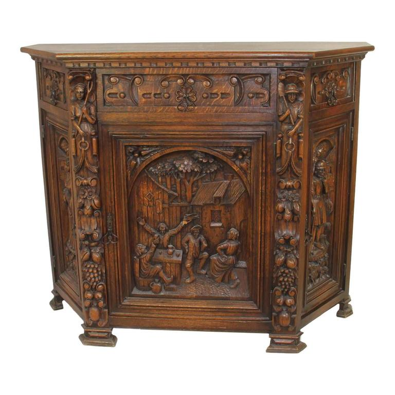 Dutch carved server or cabinet circa 1915 for sale at 1stdibs for Carved kitchen cabinets