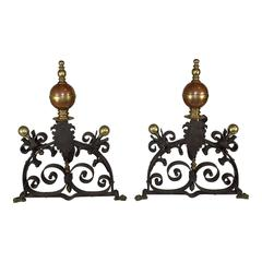 Pair of English Iron, Copper and Brass Fireplace Andirons/Fire Dogs, circa 1910