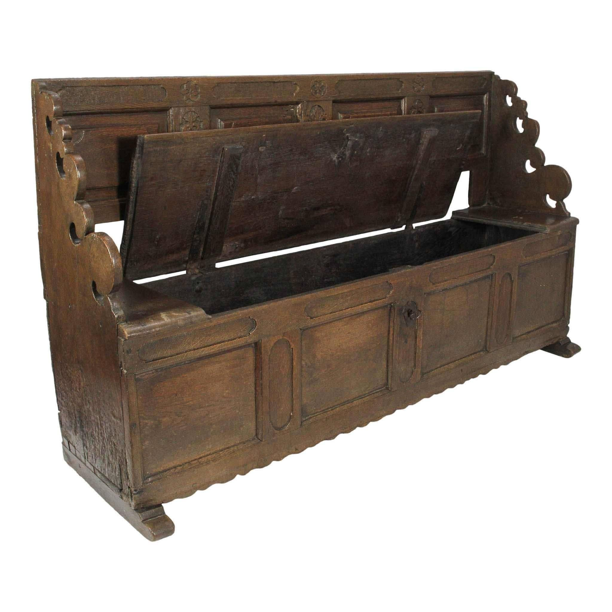 Early 19th Century Danish Beechwood Bench With Storage For Sale At 1stdibs