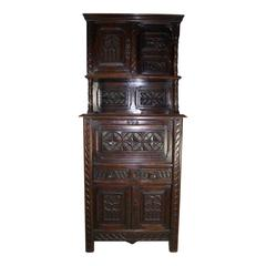 Gothic Revival Carved Walnut Cabinet, circa 1900, Two Available
