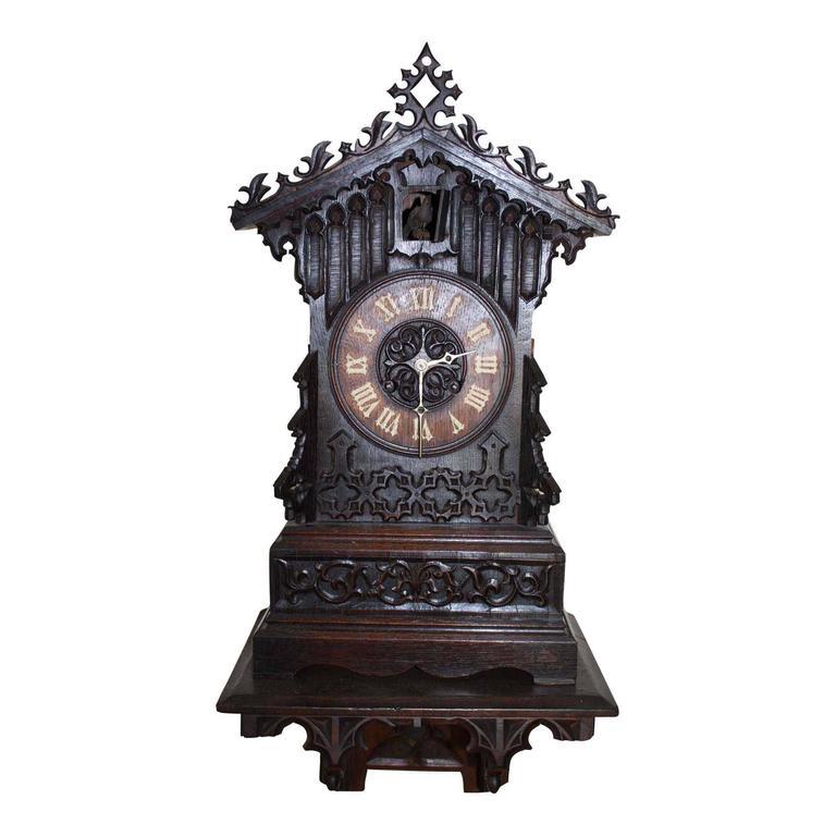 German Cuckoo Clock With Wall Mounted Shelf Circa 1840
