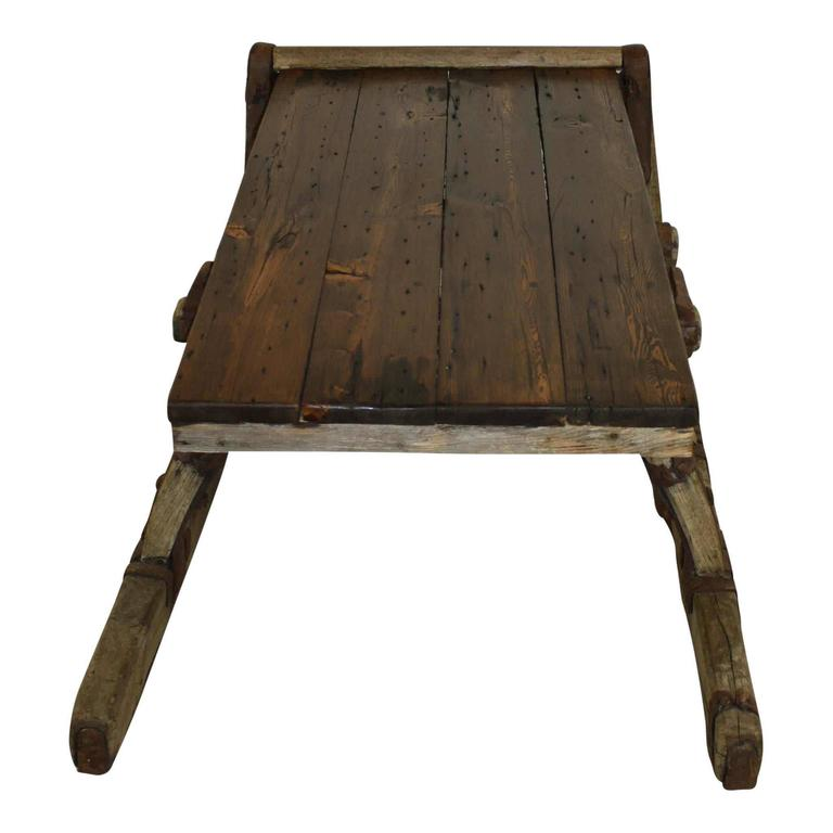 Pine Re-Purposed Russian Sleigh Coffee Table For Sale