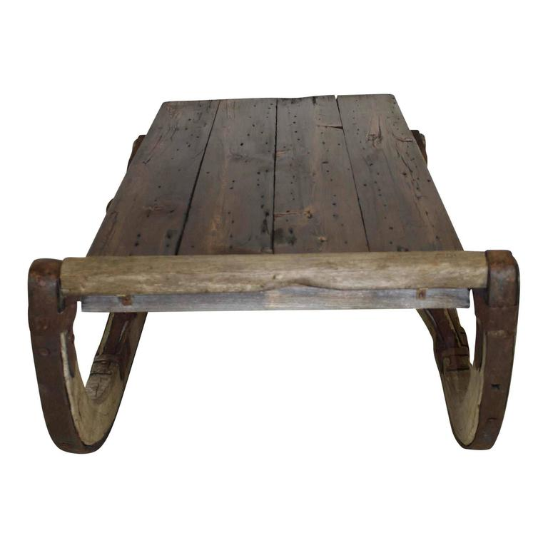 Contemporary Re-Purposed Russian Sleigh Coffee Table For Sale