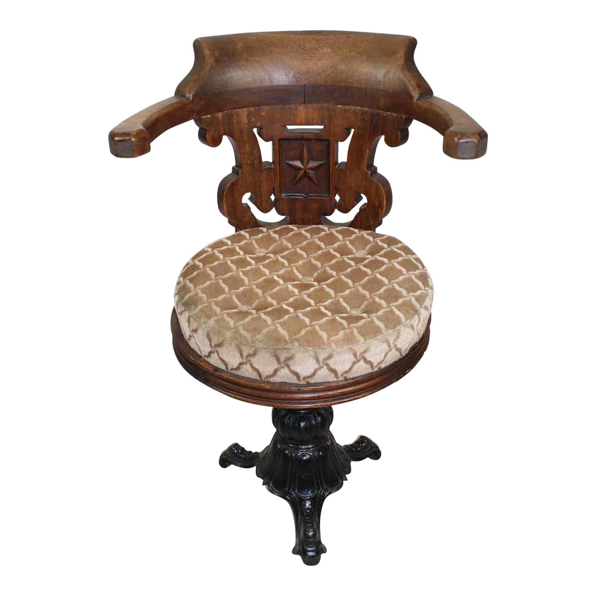 European Nautical Chair with Cast Iron Base, circa 1900