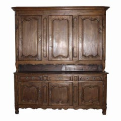 French Country Oak Deux Corps Cabinet, circa 1800