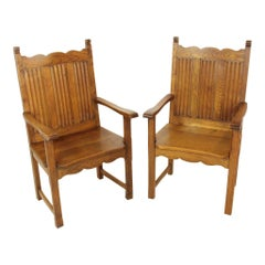 Neo-Gothic Style Armchairs Set of Two, circa 1950