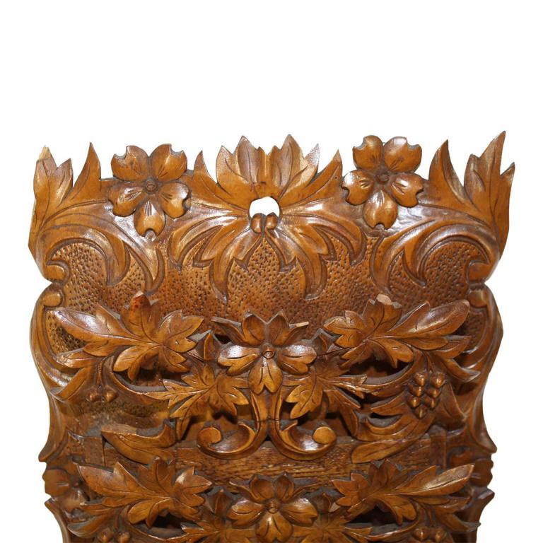 Carved Walnut Hanging Wall Pocket or Letter Holder 3