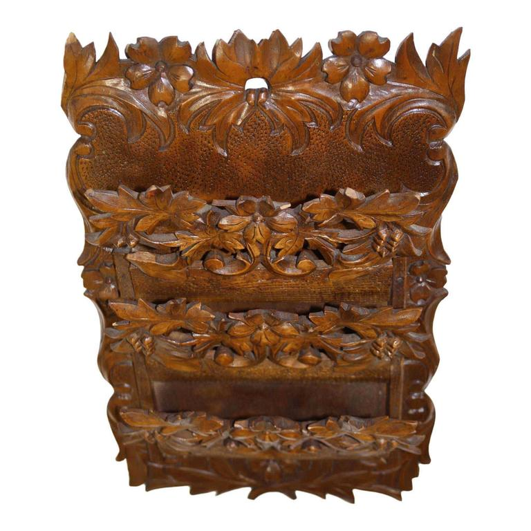 Carved Walnut Hanging Wall Pocket or Letter Holder In Good Condition For Sale In Evergreen, CO