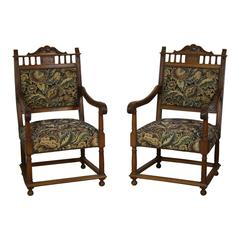 French Walnut Armchairs, Set of Two, circa 1890