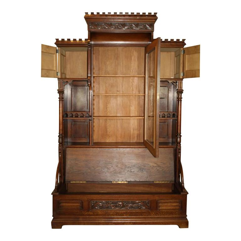 Gothic Revival Bookcase With Bench And Storage Circa 1875 For Sale At 1stdibs