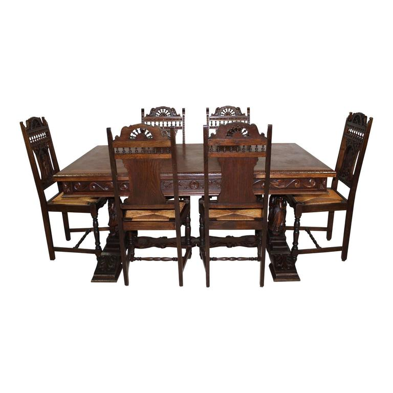 Belgian Draw Leaf Table with Six Chairs, circa 1910