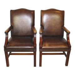Early 20th Century English Arched Back Leather Armchairs