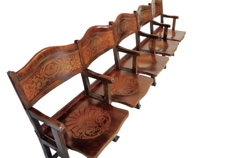 Art Nouveau Theatre Seats Row of Five Chairs, circa 1910 For Sale at ...