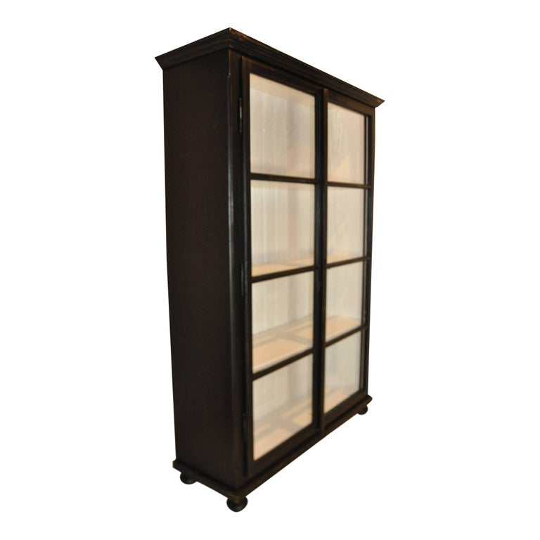 Black And White Cabinet With Glass Doors For Sale At 1stdibs