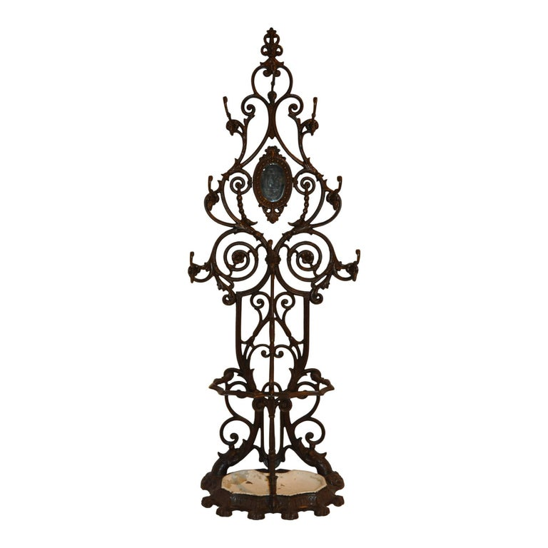 Late Victorian Hall Tree with Mirror and Umbrella Stand