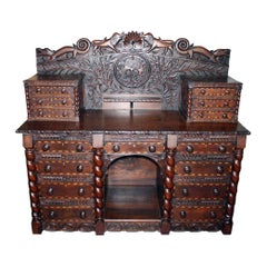 German Carved and Inlaid Server or Sideboard, circa 1850