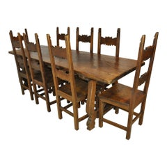 Spanish Colonial Trestle Dining Table and Eight Chairs, circa 1940