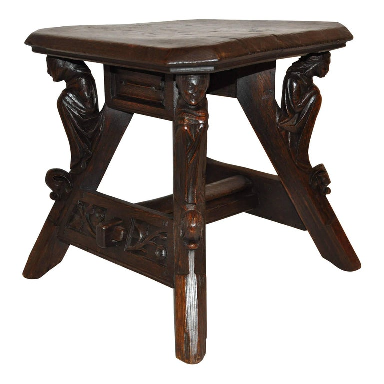 Belgian Gothic Revival Bench, Side Table, circa 1840