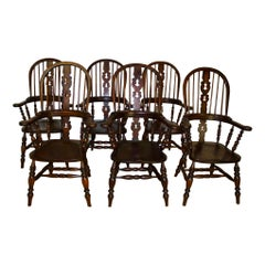 Oak Windsor Highback Armchairs, Set of Six, circa 1920
