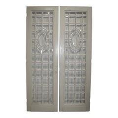 Painted Doors with Beveled Glass Panes, Set of Two, circa 1900