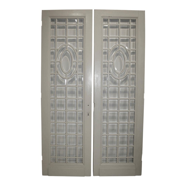 Painted Doors With Beveled Glass Panes Set Of Two Circa 1900 For