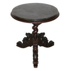 Hunt Side/End Table with Marble Top and Gargoyle Base, circa 1890