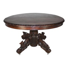 French Oval Oak Hunt Coffee Table, circa 1880