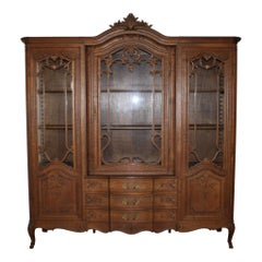 Belgian Louis XV Oak Hutch/China Cabinet