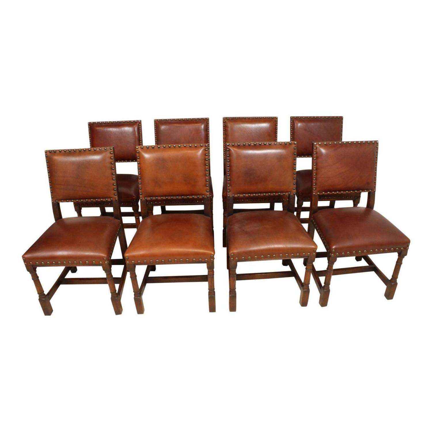 Mid 20th century oak dining room table with eight leather for Oak dining room chairs