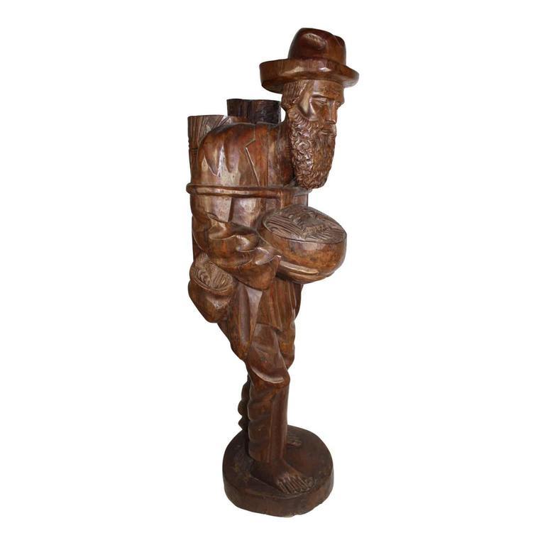Tall Teak Wood Asian Folk Art Sculpture of Elderly Man In Good Condition For Sale In Evergreen, CO