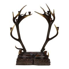 Bulgarian Red Stag Candelabra with Carved Base