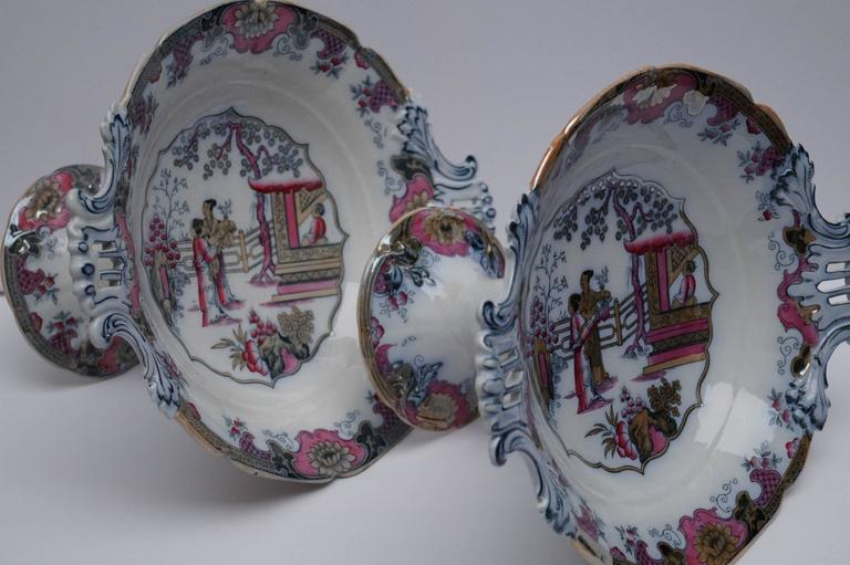 France late 19th century 1880-1900. From Boch Freres Keramis [BFK]. Decor is 'Canton'. Good condition, some minor wear on glaze on one foot.  Measures: Height 19.5cm,  diameter 35cm.