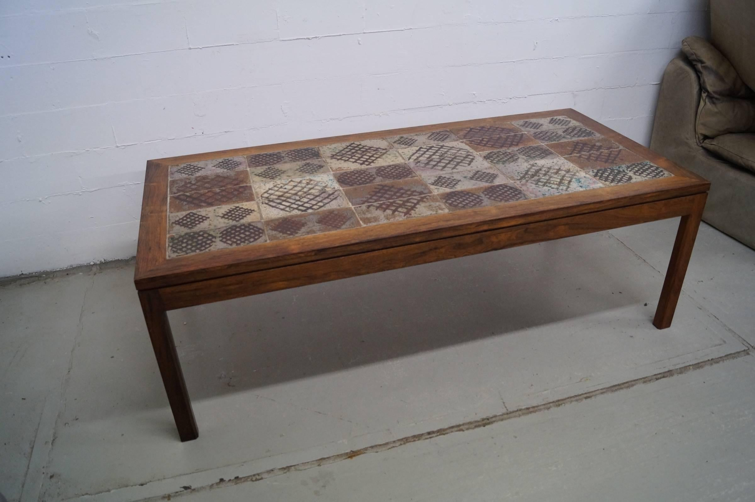 Rosewood Coffee Table Fine Vintage Tile Topped Table, Signed By Tue  Poulsen. Measures: