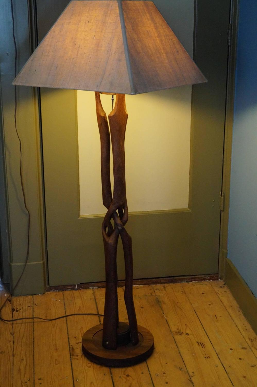 Unique Entwined Wooden Floor Lamp Scandinavia 1950s For