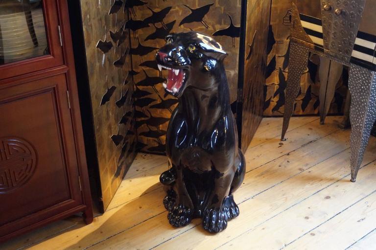 Rare big vintage ceramic black panther italy 1960s for sale at 1stdibs - Black panther ceramic sculpture ...
