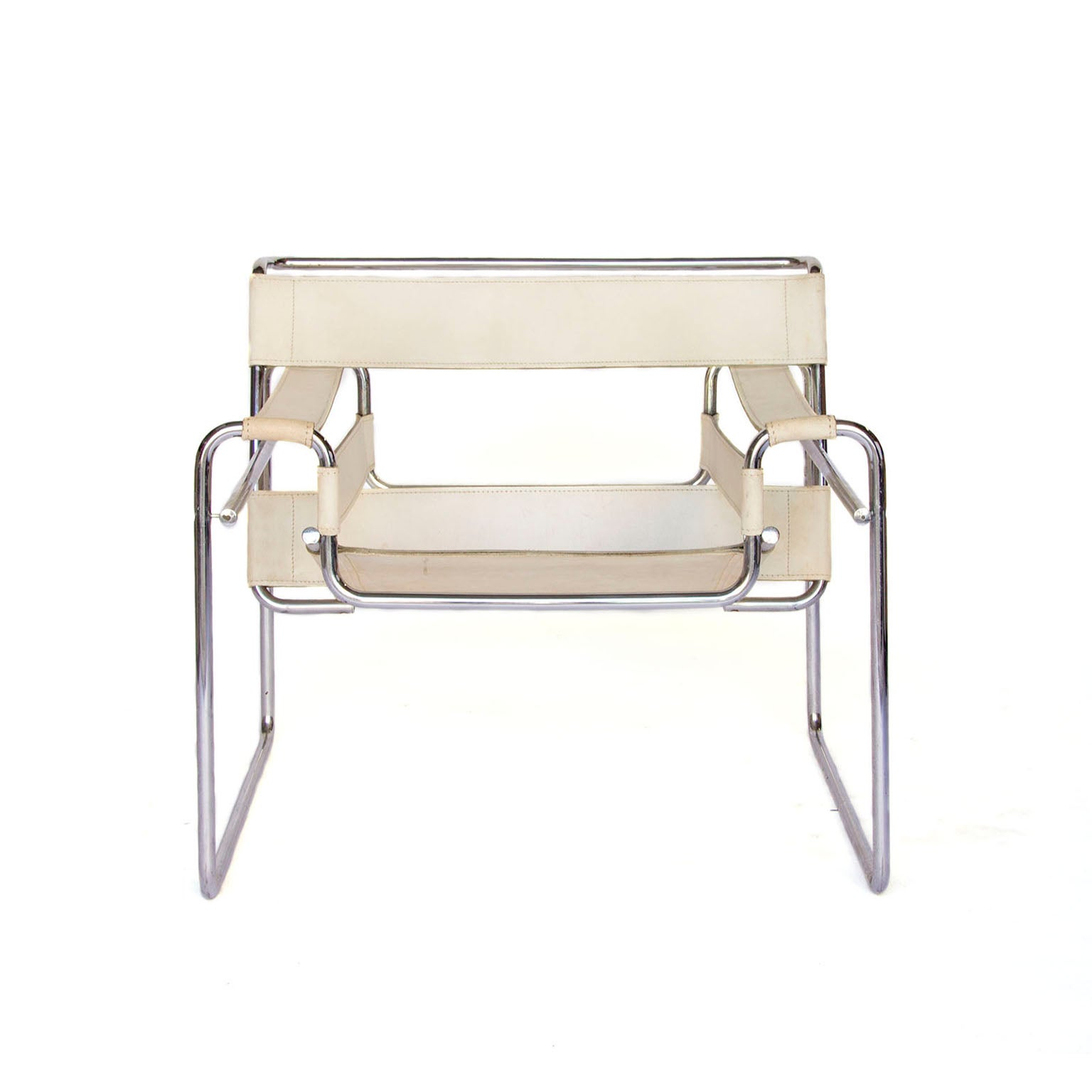1925, Marcel Breuer, White Leather Vintage Wassily Chair For Sale