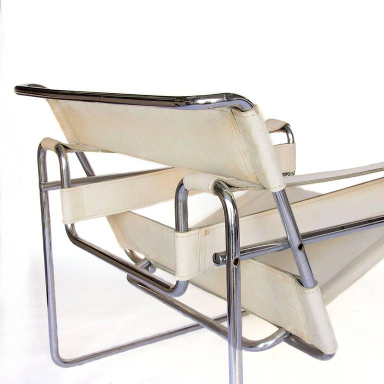 1925 marcel breuer white leather vintage wassily chair. Black Bedroom Furniture Sets. Home Design Ideas