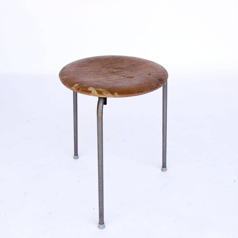 1953 Arne Jacobsen Two 3170 Stackable Stools In Wood For