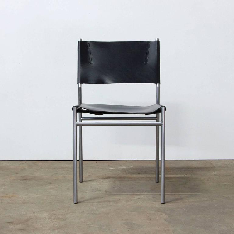 1960, Martin Visser, Set Chairs SE 06 in Black Leather by Spectrum ...